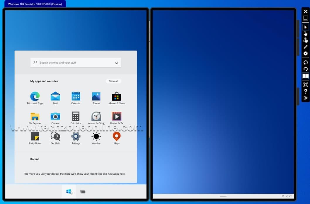 Windows 10X Start menu