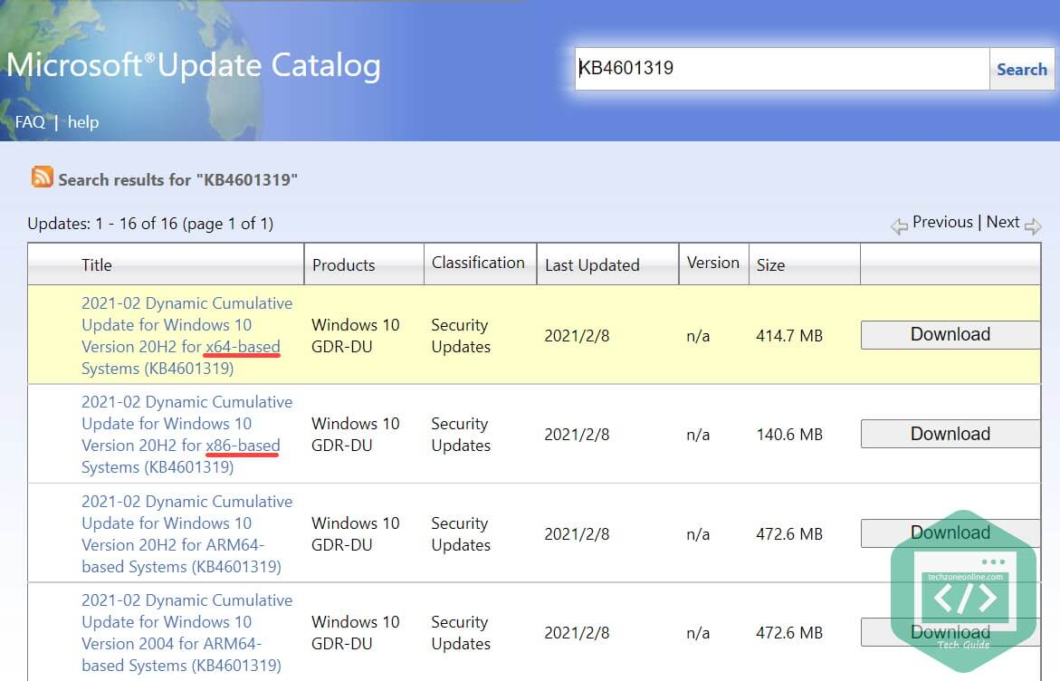 Download Windows update file from Microsoft Update Catalog