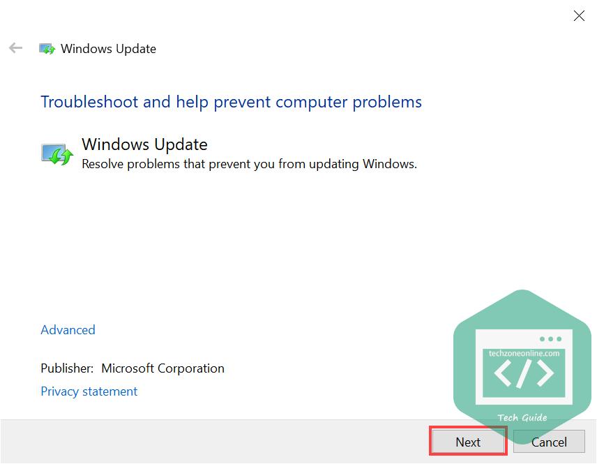 Click Next to run Windows Update troubleshooter