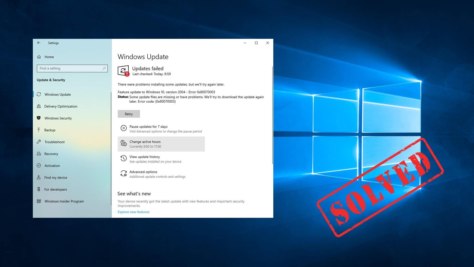Windows 10 update error 0x80070003