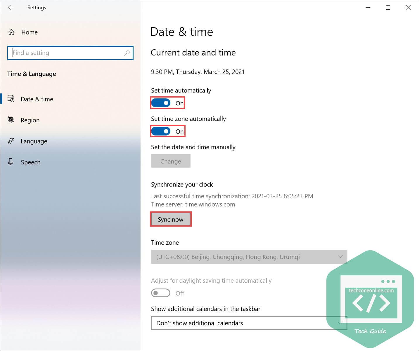 Date Time settings in Windows 10