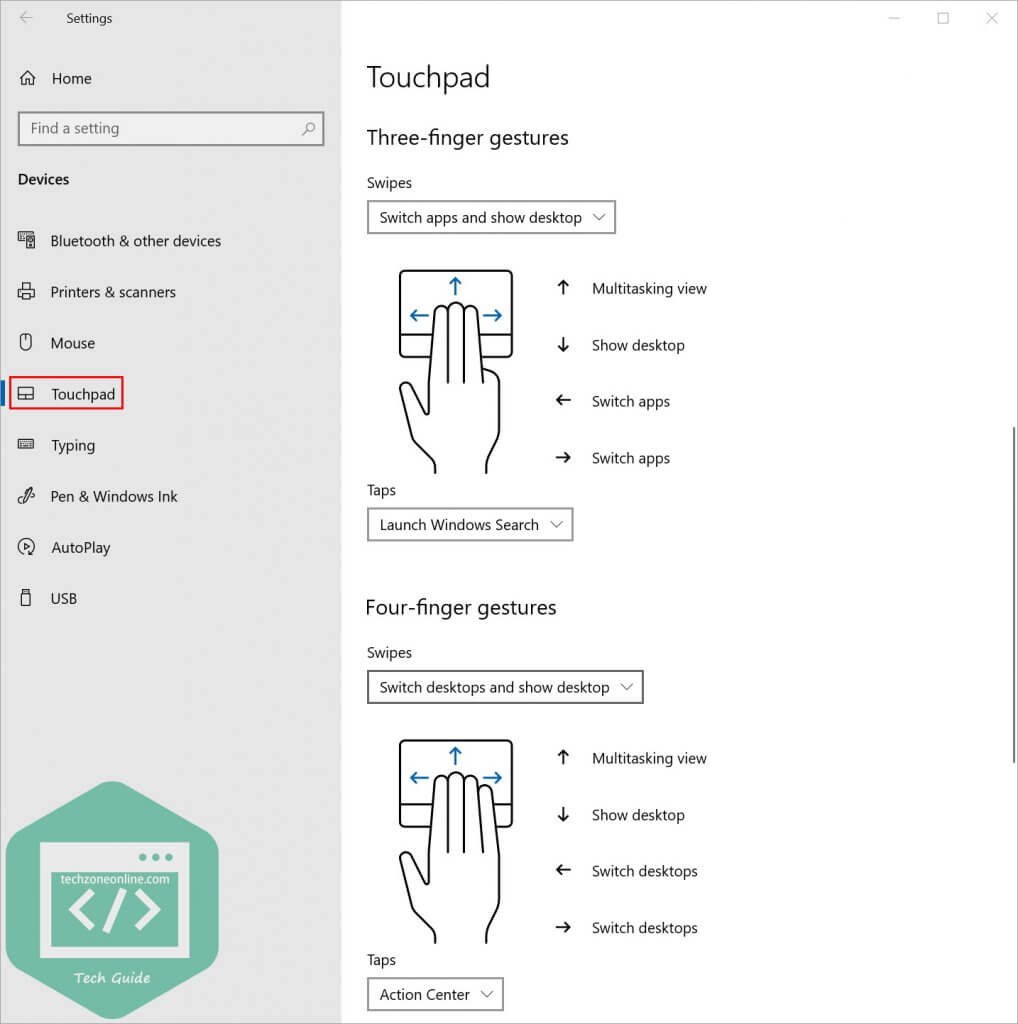 Touchpad settings finger gestures