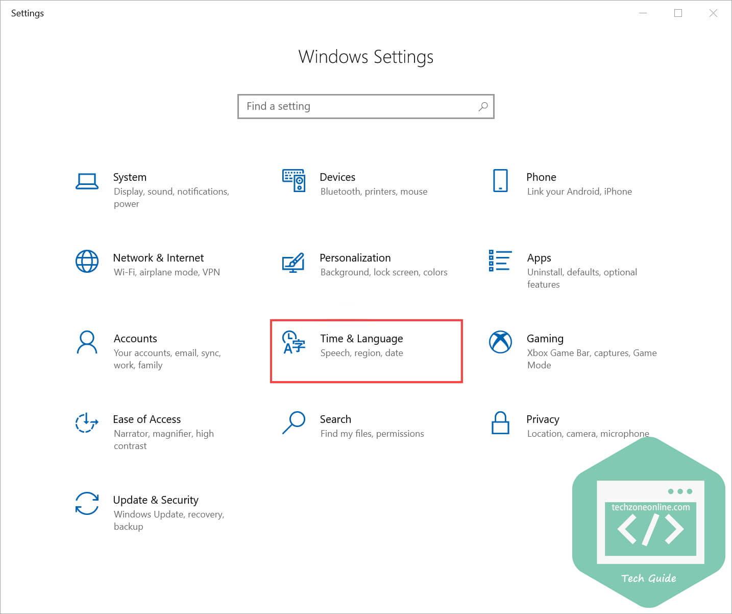 Windows 10 Settings Time Language
