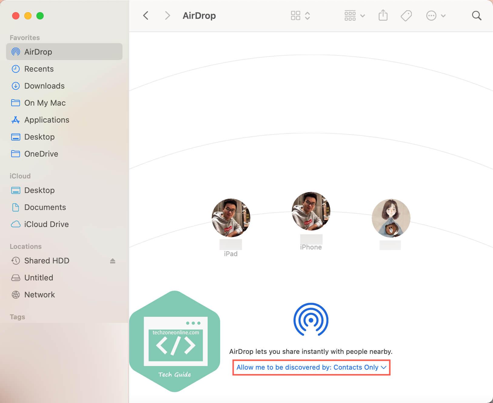 tweak AirDrop receiving setting on Mac