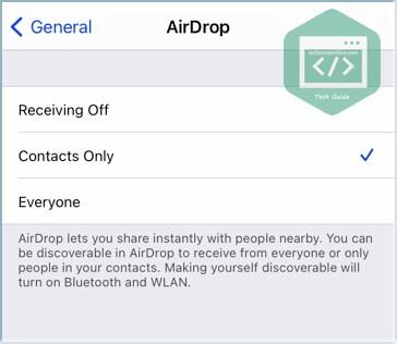 tweak AirDrop receiving setting on iOS devices