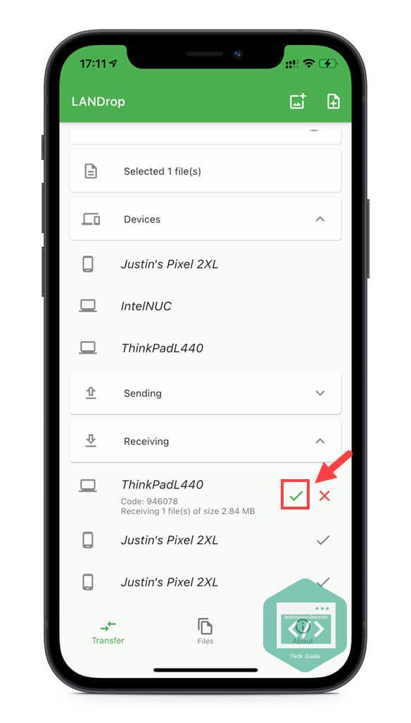 Receive files on iPhone LANDrop