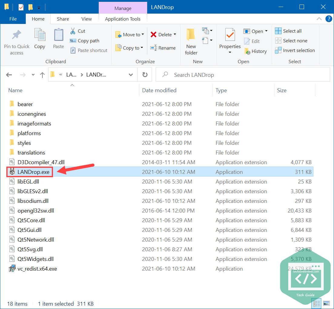 double-click LANDrop.exe to run