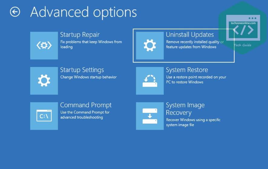 Advanced options uninstall updates