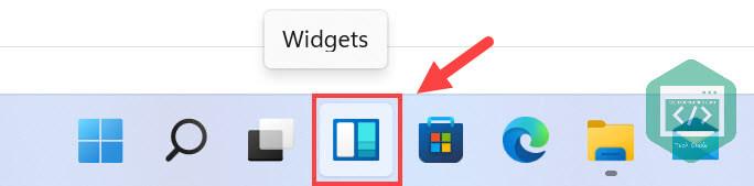 The widgets button in the taskbar