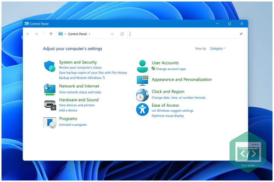 Control Panel in Windows 11