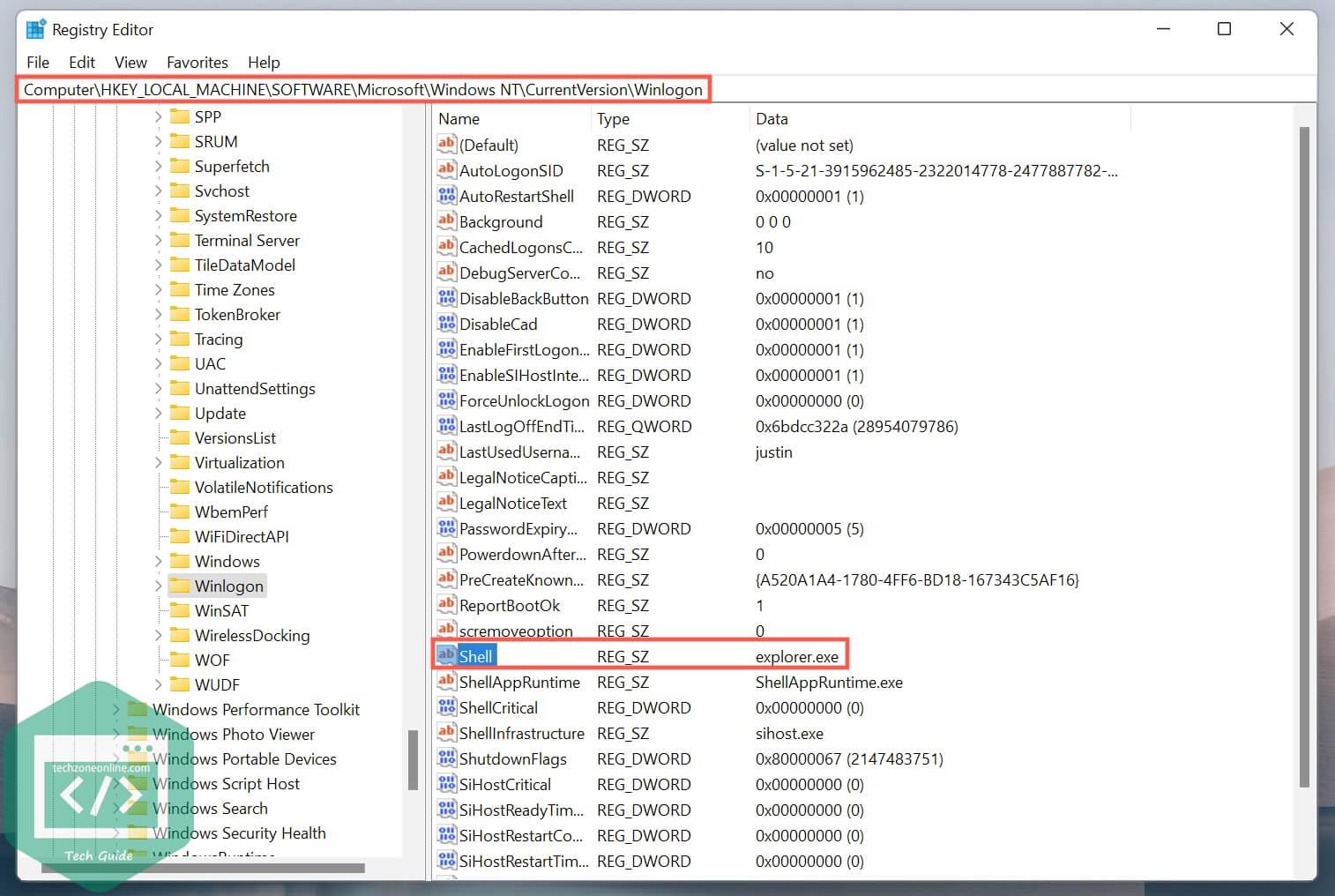 the Shell value in Registry Editor