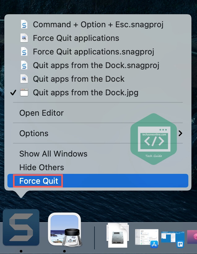 Force quit from the dock