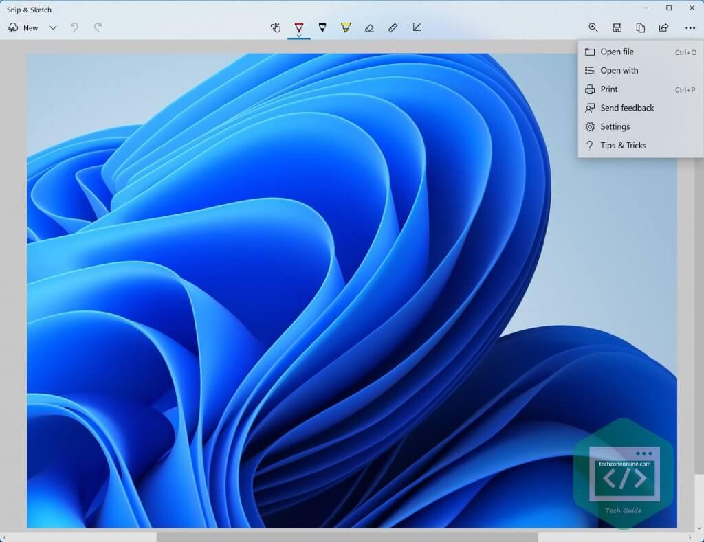 Snip & Sketch app image editor Windows 11