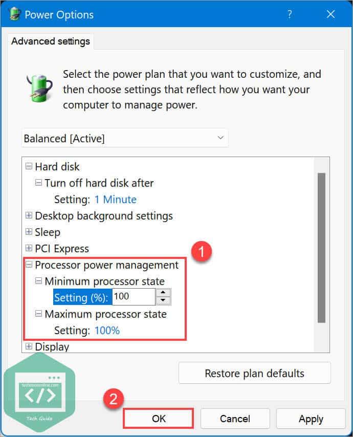 Change advanced power settings processor power management