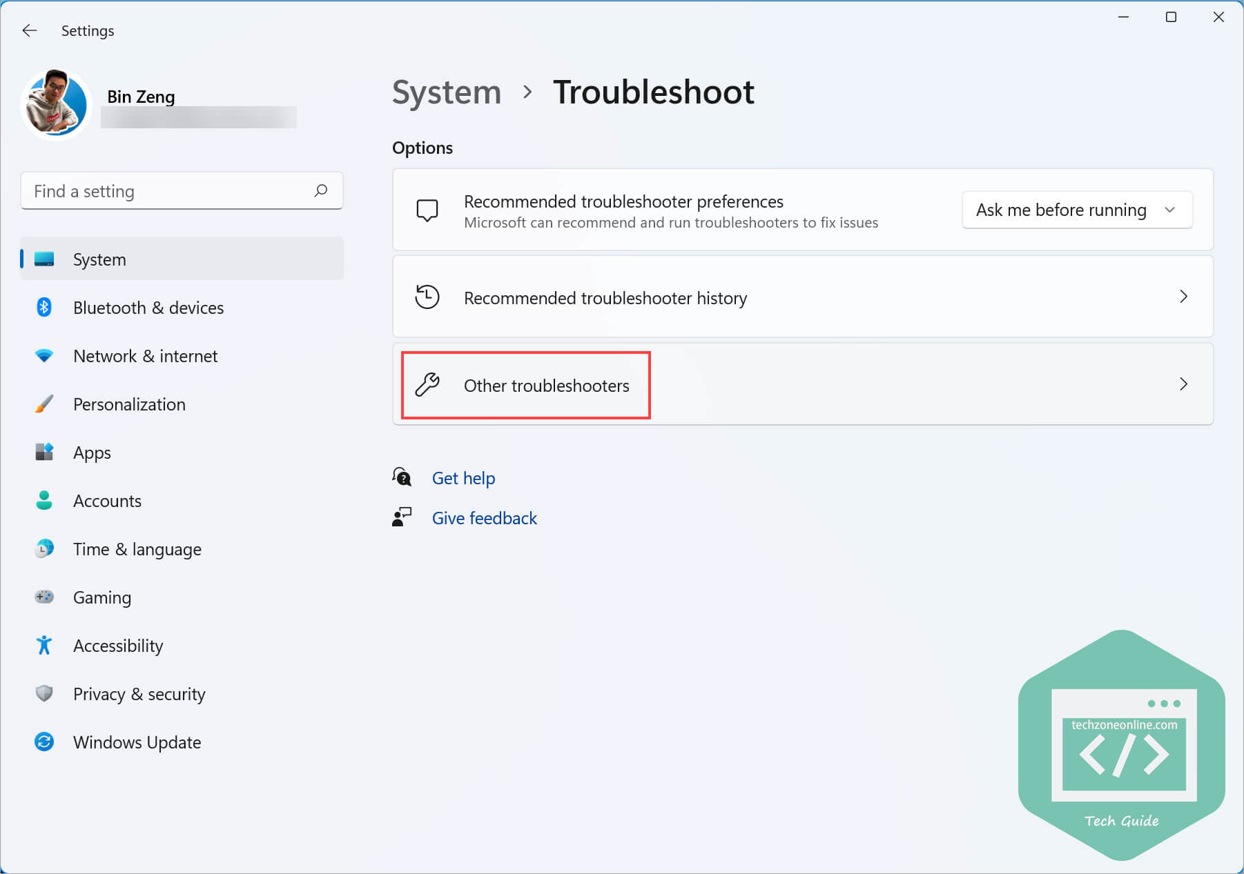 Other troubleshooters Windows 11