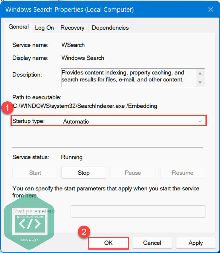 Set Windows Search startup type to Automatic