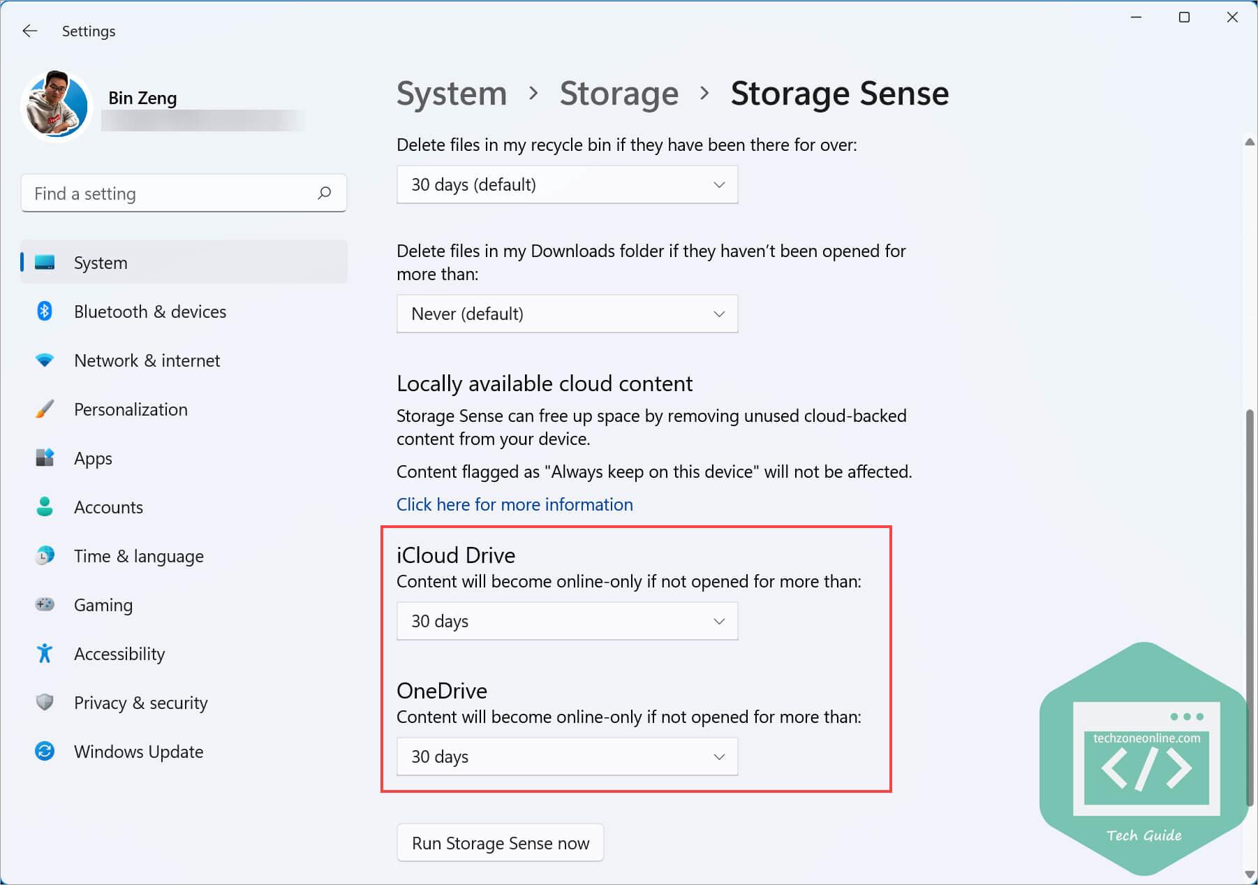 Storage Sense in Windows Settings 1