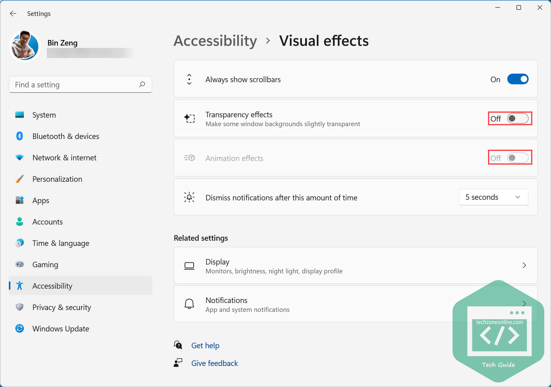 Turn off transparency effects and animation effects