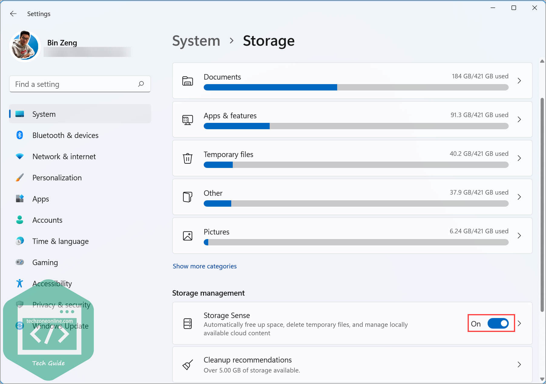 Turn on Storage Sense