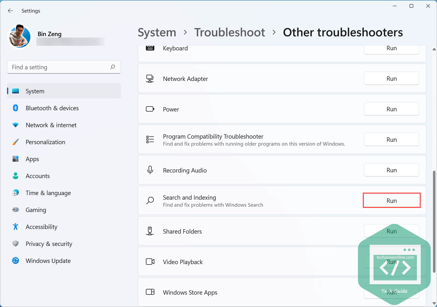 Windows 11 Search and Indexing troubleshooter