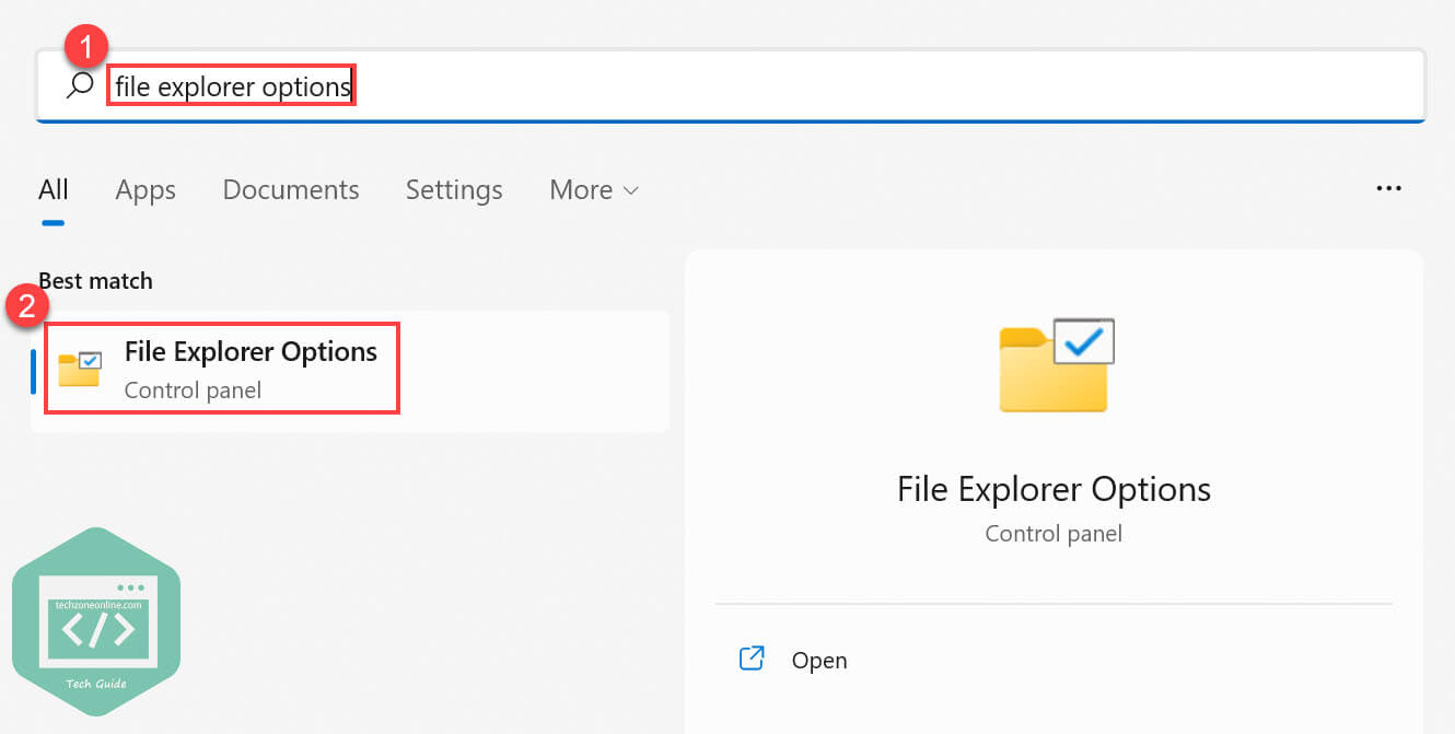 search for file explorer options